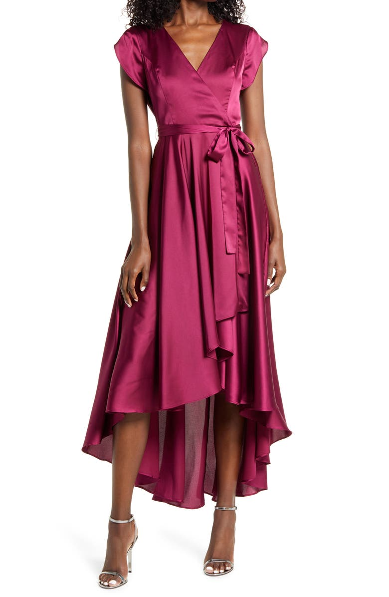 LULUS Fallen For You Satin High/Low Dress, Main, color, MAGENTA