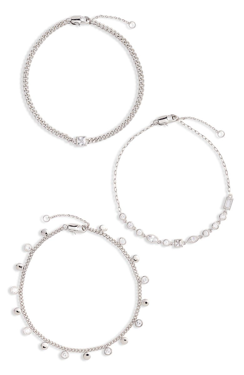 NORDSTROM 3-Pack Cubic Zirconia Chain Bracelets, Main, color, CLEAR- SILVER