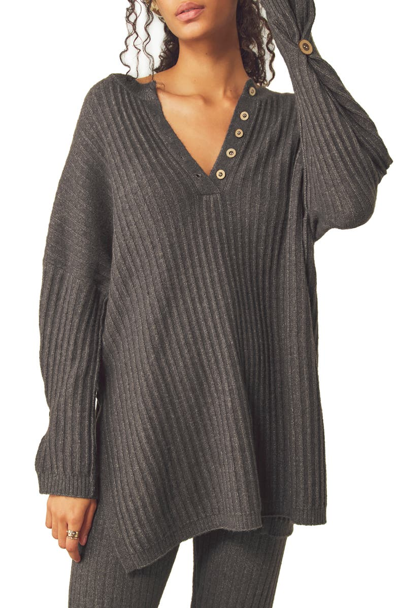 FREE PEOPLE Around the Clock Tunic Sweater, Main, color, CHARCOAL