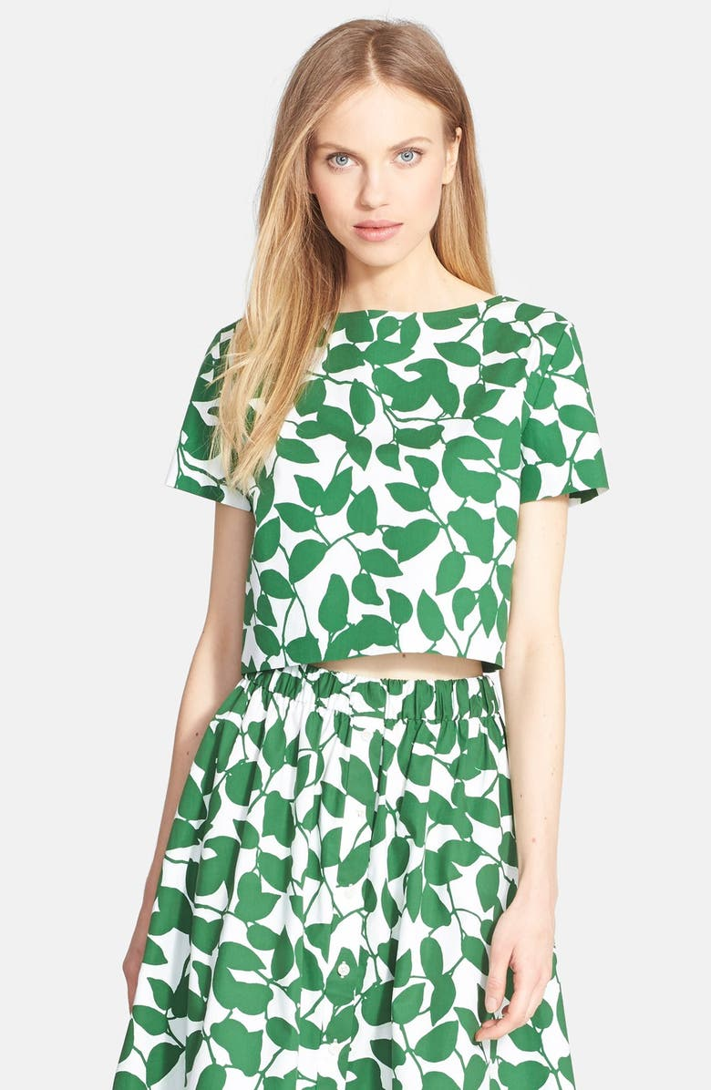 KATE SPADE NEW YORK 'garden leaves' stretch cotton crop top, Main, color, 313