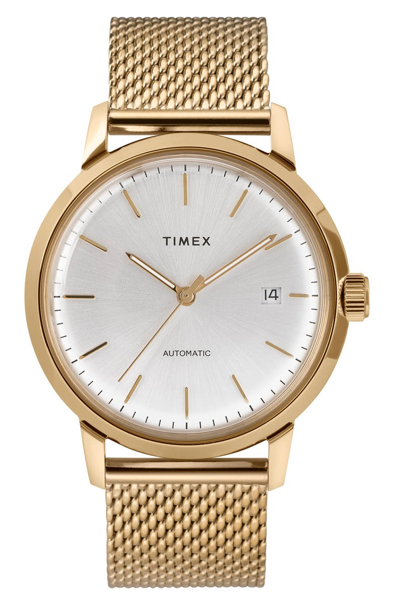 TIMEX<SUP>®</SUP> Marlin Mesh Strap Automatic Watch, 40mm, Main, color, GOLD/ SILVER/ GOLD