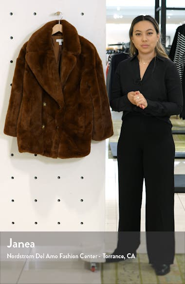 Ally Faux Fur Double Breasted Jacket, sales video thumbnail