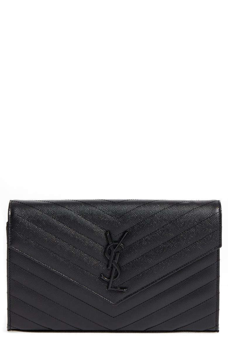 SAINT LAURENT Monogram Quilted Leather Wallet on a Chain, Main, color, NERO