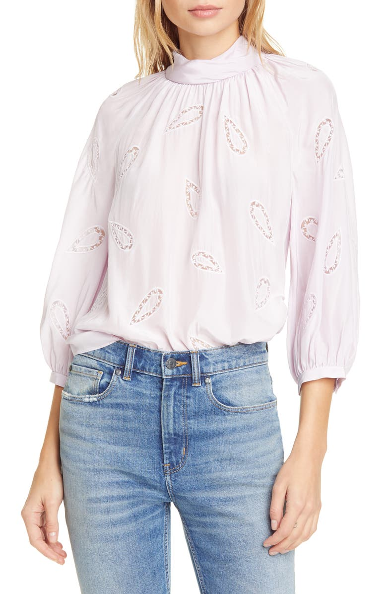REBECCA TAYLOR Appliqué Silk Blouse, Main, color, 650