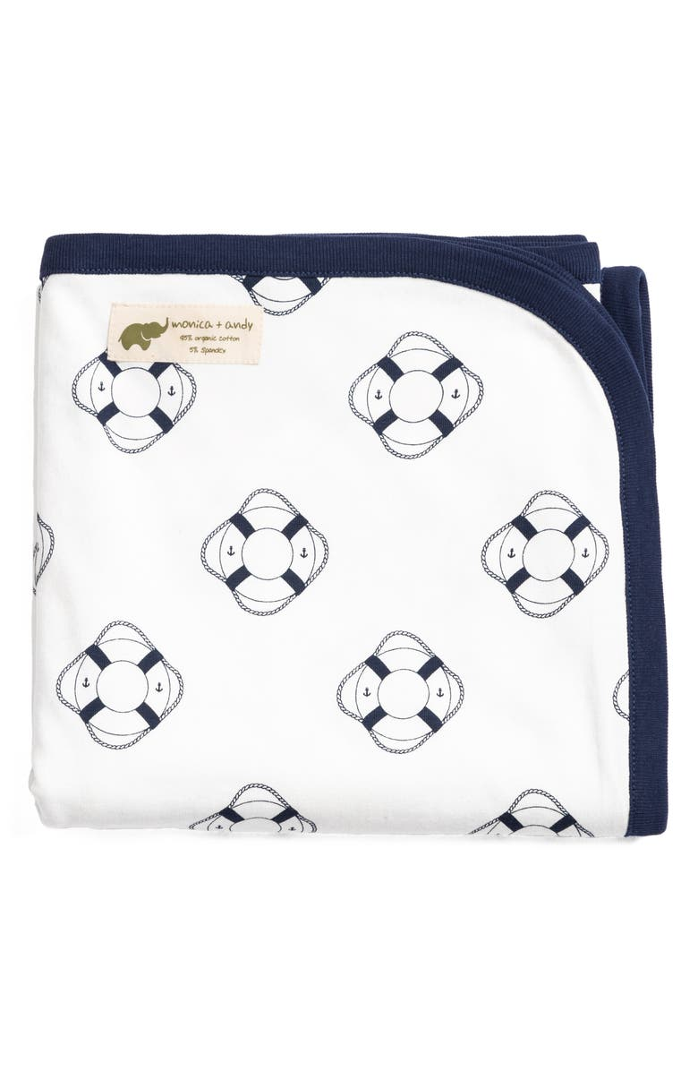 MONICA + ANDY Welcome Aboard Stretch Organic Cotton Coming Home Blanket, Main, color, 100