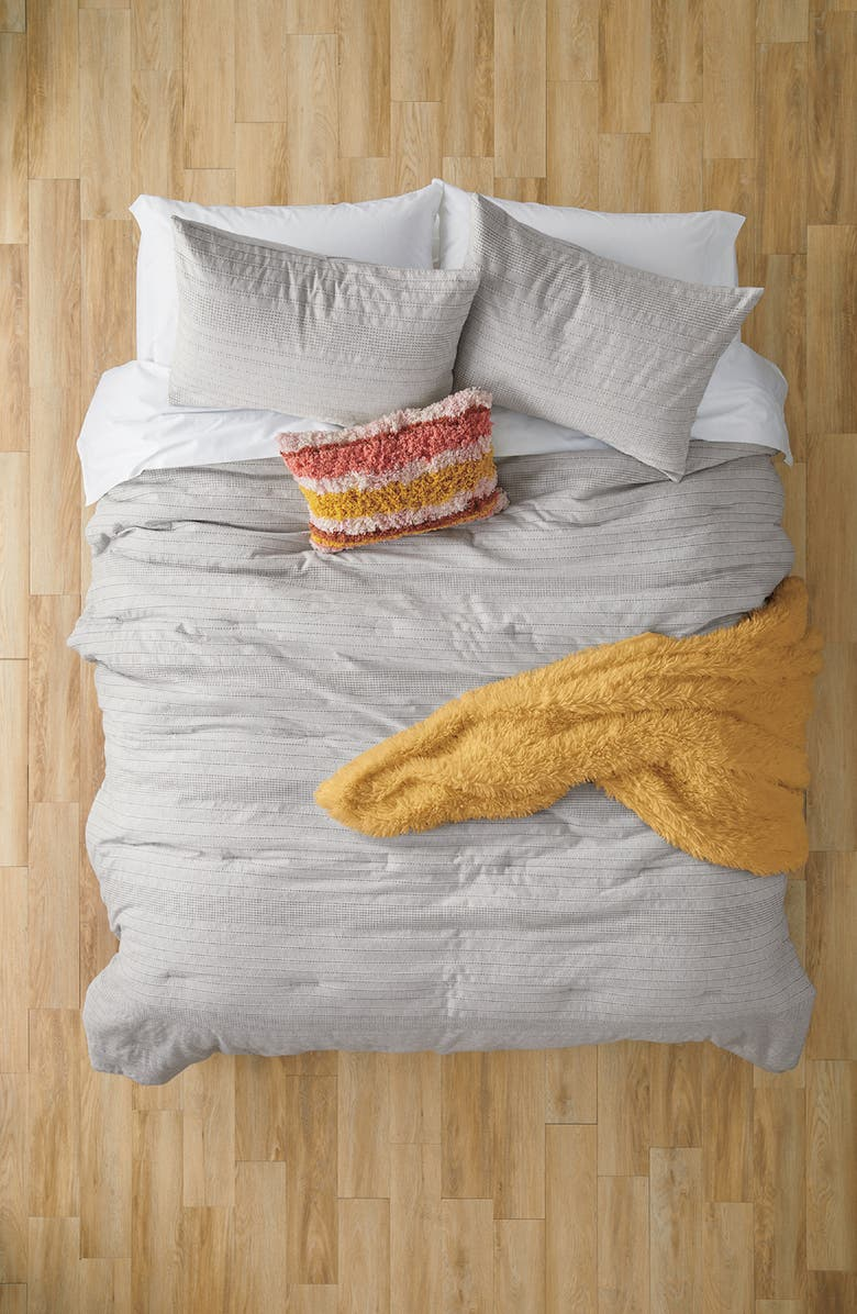 BP. Waffle Texture Stripe Comforter & Sham Set, Main, color, GREY VAPOR