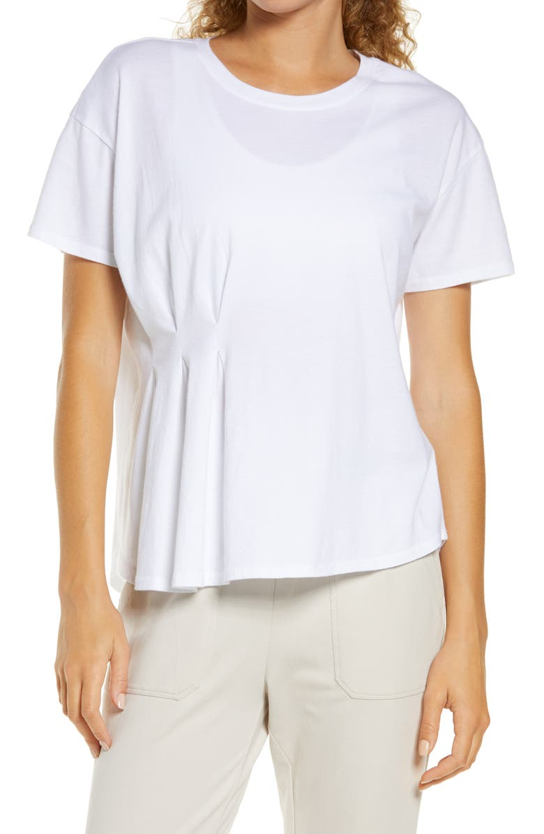ZELLA Washed Pleated T-Shirt, Main, color, 100