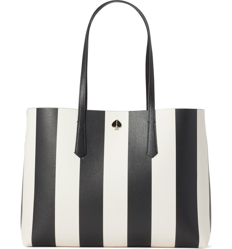 KATE SPADE NEW YORK large molly stripe faux leather tote, Main, color, BLACK MULTI