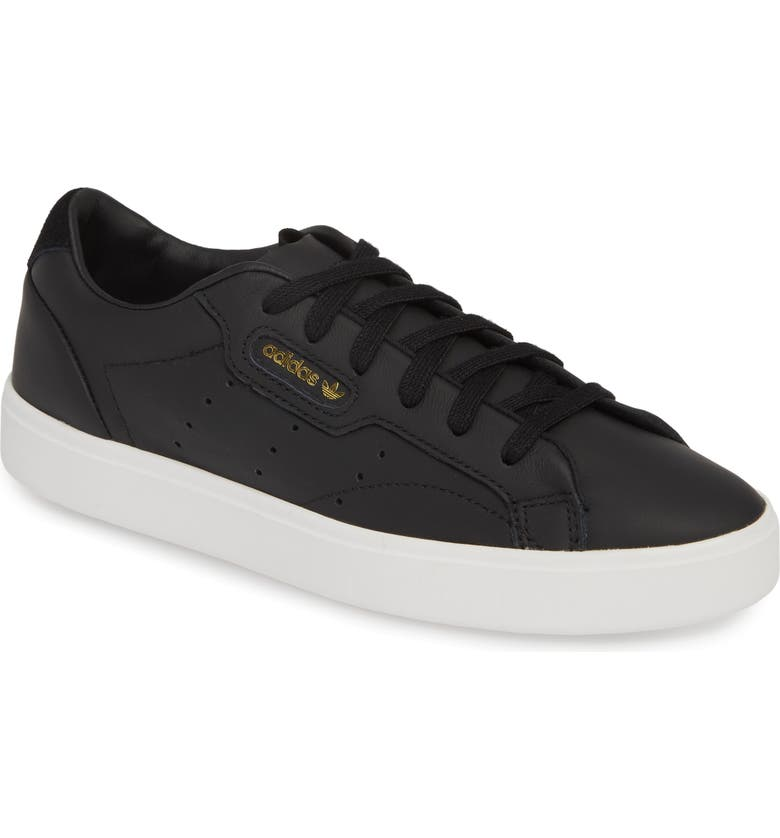 ADIDAS Sleek Leather Sneaker, Main, color, CORE BLACK/ CRYSTAL WHITE