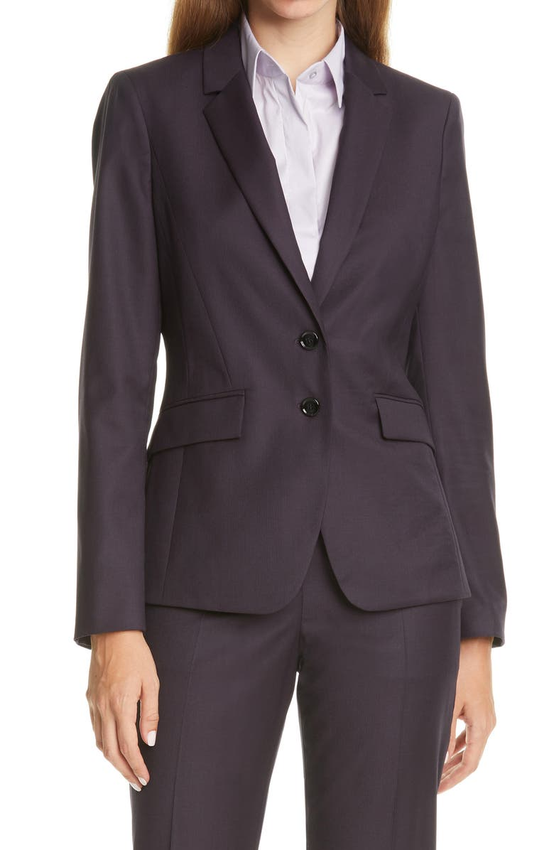 BOSS Jesulea Mini Houndstooth Blazer, Main, color, GRAPE MINI HOUNDSTOOTH