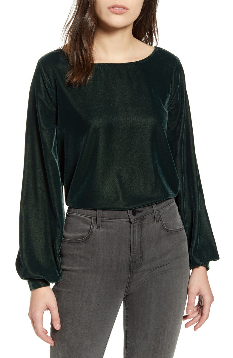 CUPCAKES AND CASHMERE Taddie Long Sleeve Velvet Top, Main, color, 301