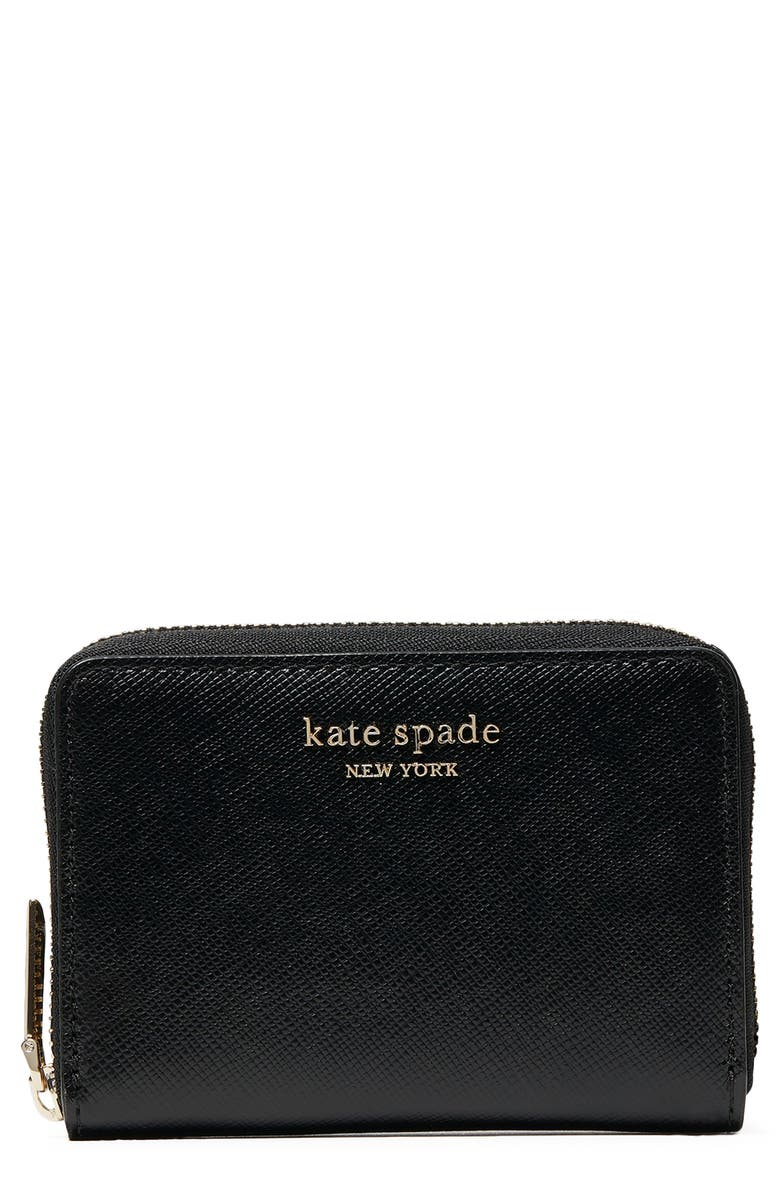 KATE SPADE NEW YORK spencer zip leather card case, Main, color, BLACK