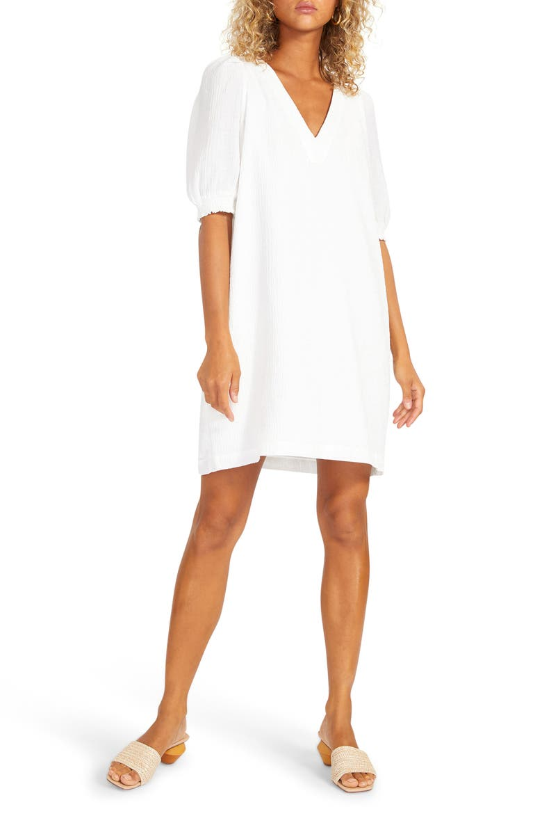 BB DAKOTA Fields of Gold Shift Dress, Main, color, BRIGHT WHITE