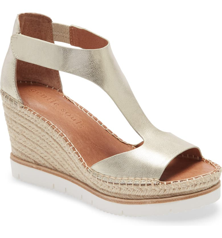 GENTLE SOULS BY KENNETH COLE Elyssa T-Strap Wedge Sandal, Main, color, ICE METALLIC LEATHER