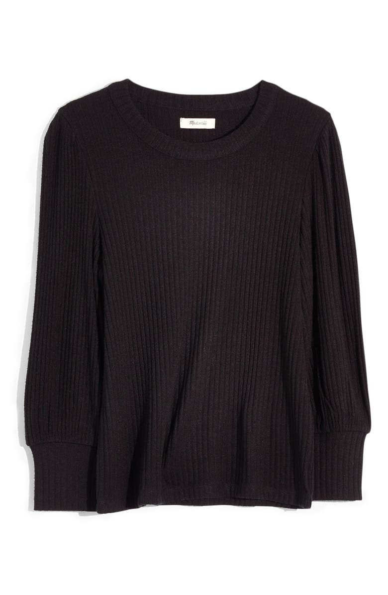 MADEWELL Brushed Rib Pleat Sleeve Top, Main, color, 001