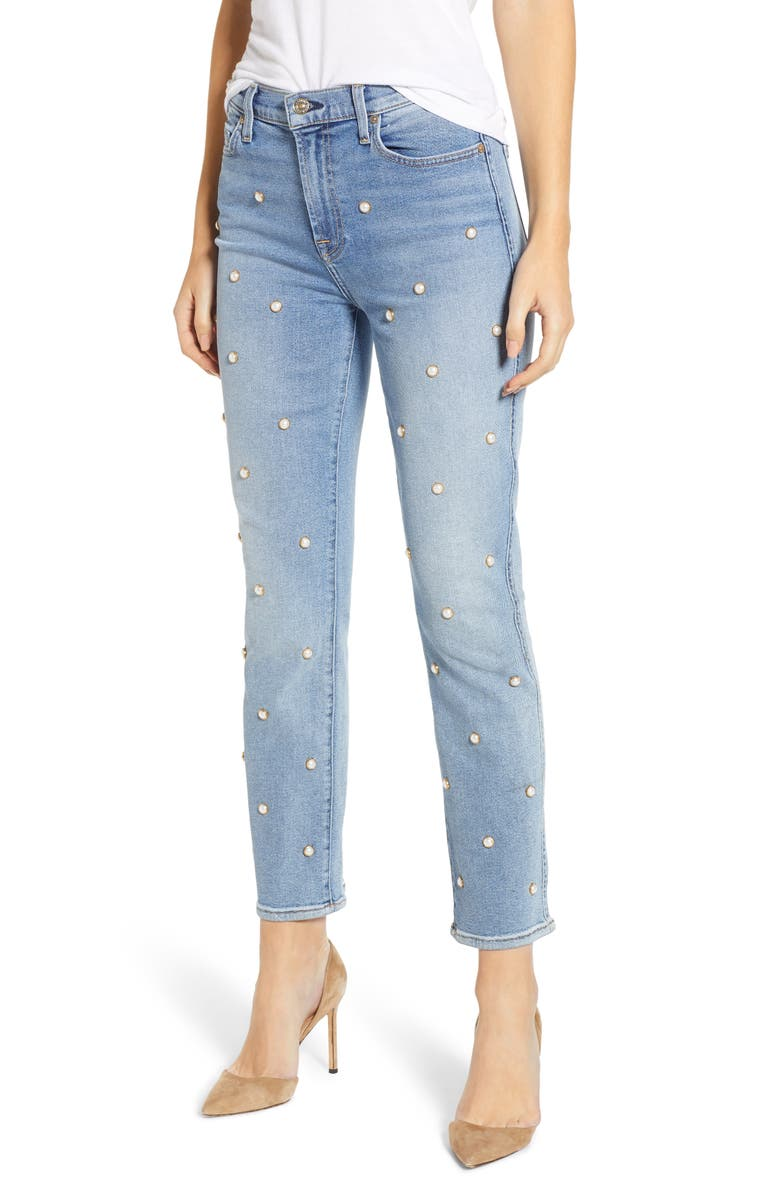 7 FOR ALL MANKIND<SUP>®</SUP> Edie Faux Pearl Detail Ankle Jeans, Main, color, 402