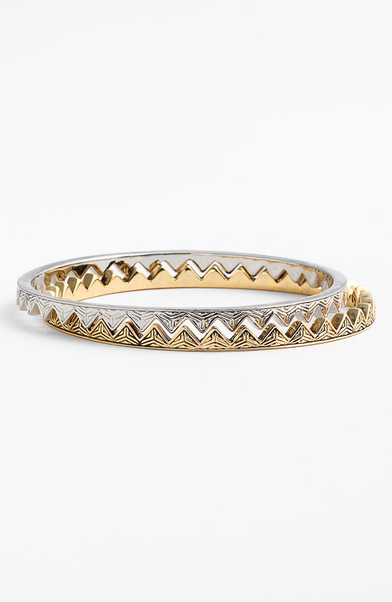 HOUSE OF HARLOW 1960 Engraved Triangle Bangles, Main, color, Gold