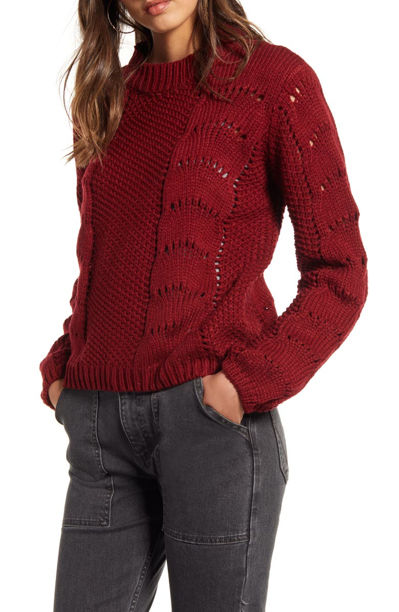 WOVEN HEART Pointelle Sweater, Main, color, 930