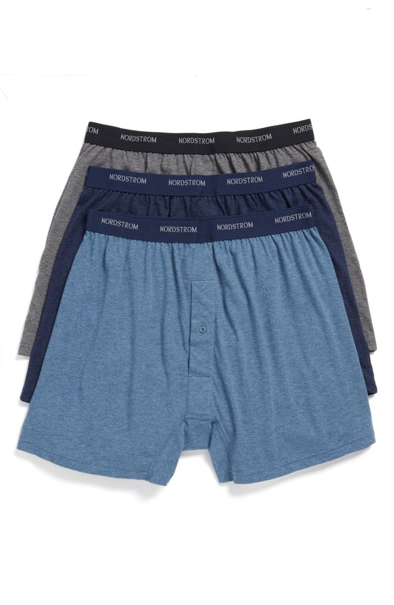 NORDSTROM 3-Pack Supima<sup>®</sup> Cotton Boxers, Main, color, NAVY/ CHARCOAL/ BLUE