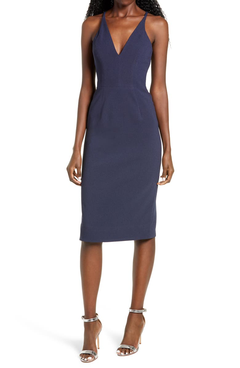 DRESS THE POPULATION Lyla Crepe Cocktail Dress, Main, color, NAVY