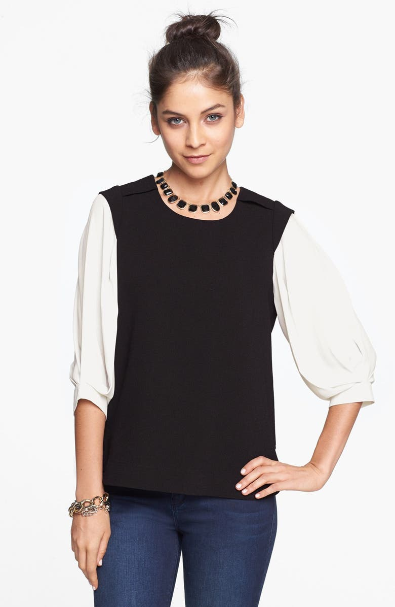 ELODIE 'Blog Worthy' Colorblock Blouse, Main, color, 001