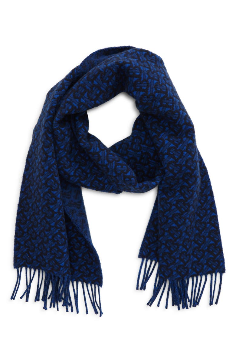BURBERRY TB Monogram Jacquard Cashmere Scarf, Main, color, AZURE BLUE