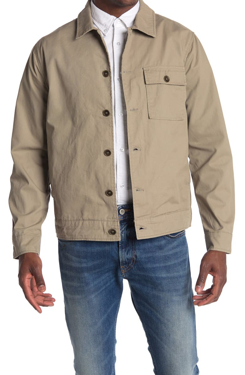 BLANKNYC Button Front Cotton Twill Shirt Jacket, Main, color, CHILL OUT