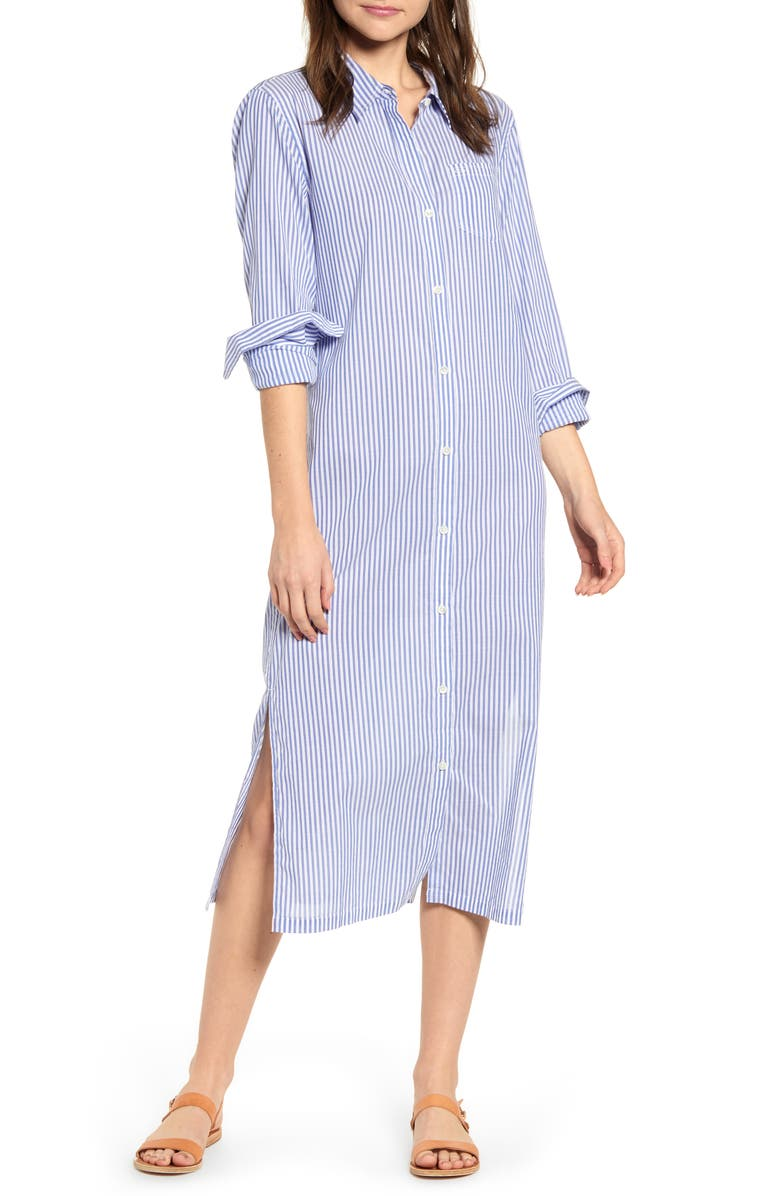 ALEX MILL Stripe Maxi Shirtdress, Main, color, 461