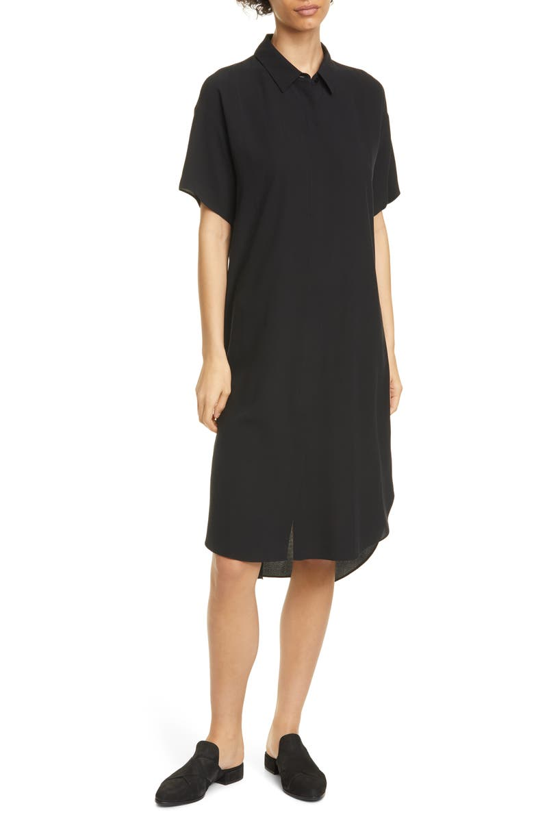 EILEEN FISHER Classic Collar Silk Shirtdress, Main, color, 001