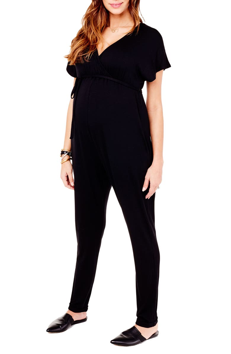 INGRID & ISABEL<SUP>®</SUP> Crossover Maternity Jumpsuit, Main, color, 006