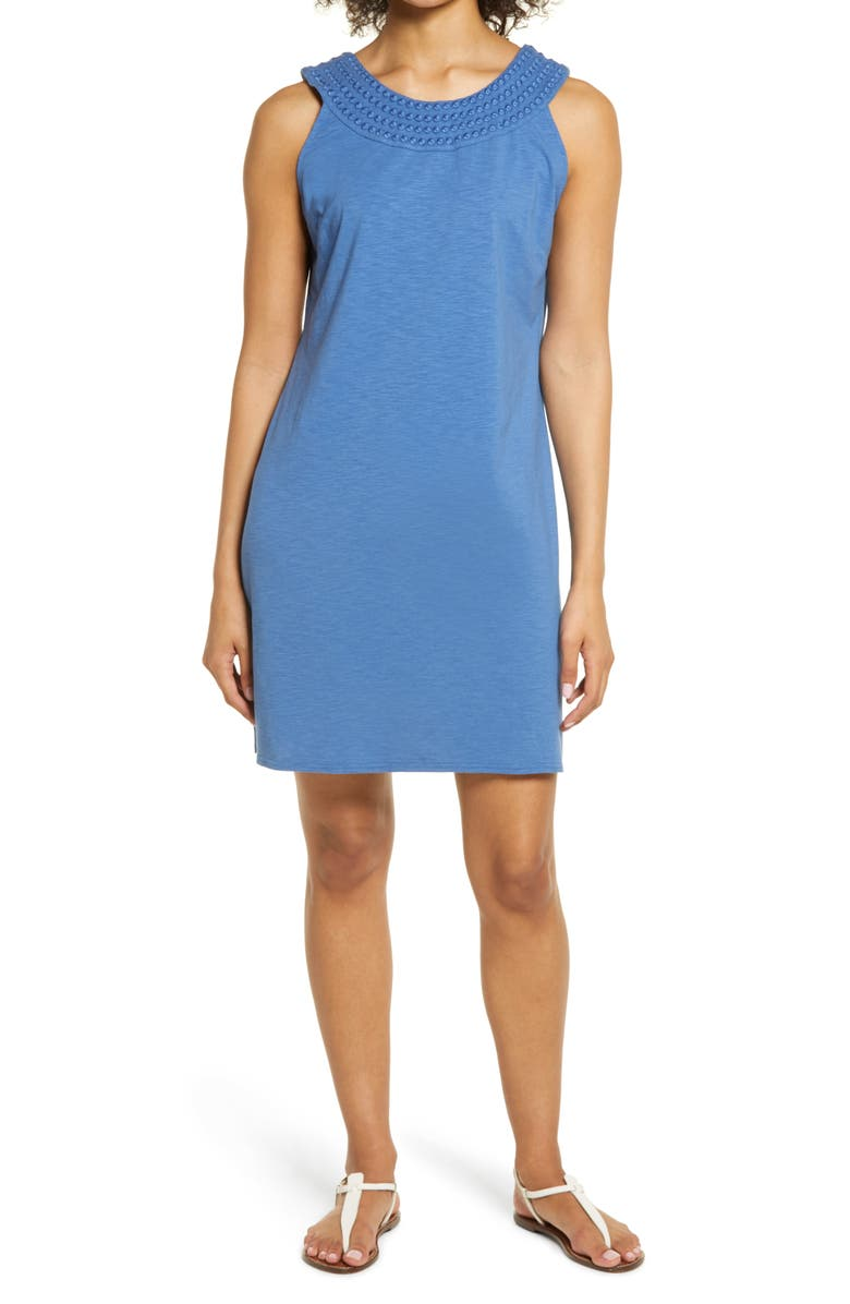TOMMY BAHAMA Embroidered Neck Dress, Main, color, OLD ROYAL