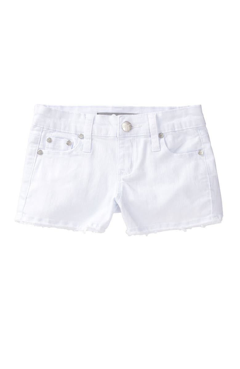 TRACTR Frayed Shorts, Main, color, WHITE