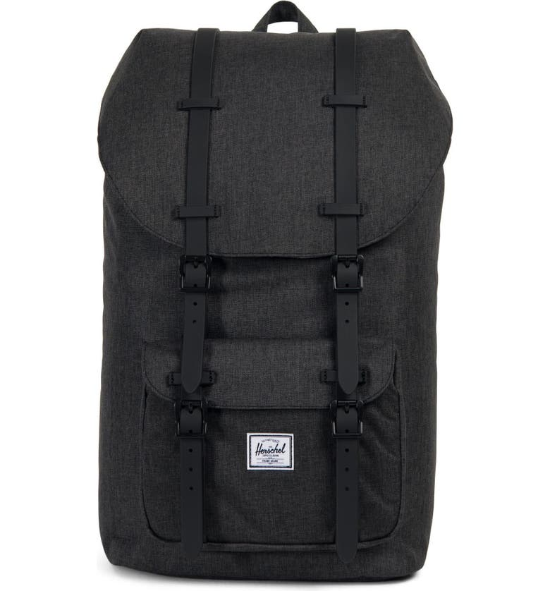 HERSCHEL SUPPLY CO. Little America Backpack, Main, color, BLACK CROSSHATCH/ BLACK RUBBER
