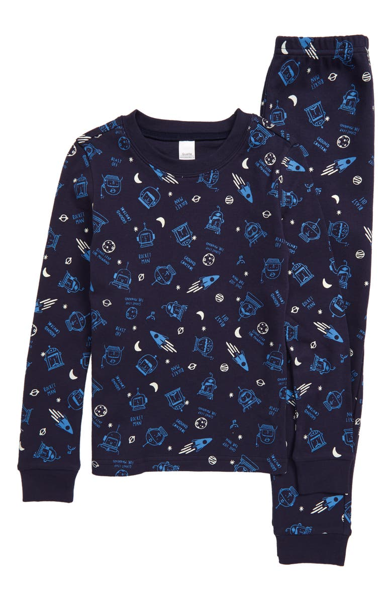 TUCKER AND TATE Glow in the Dark Fitted Two-Piece Pajamas, Main, color, NAVY PEACOAT ASTRONAUTS