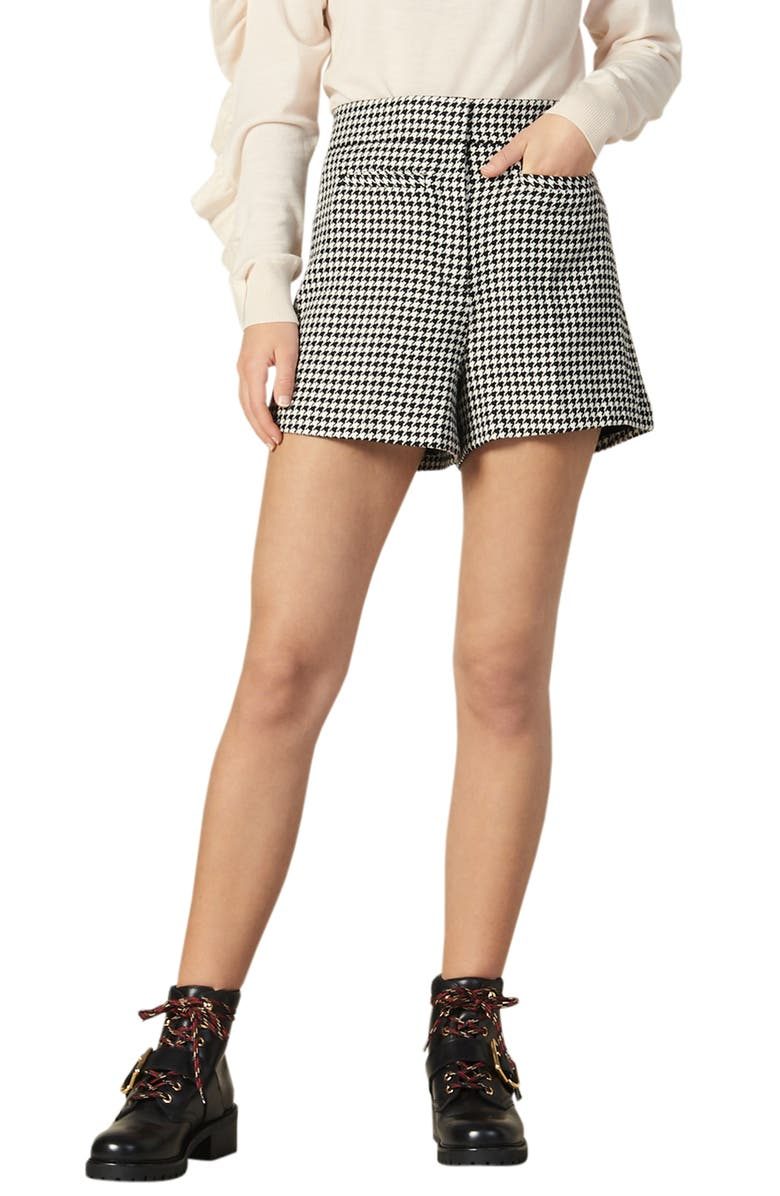 SANDRO Missey Houndstooth Check Cotton & Wool Blend Shorts, Main, color, 001
