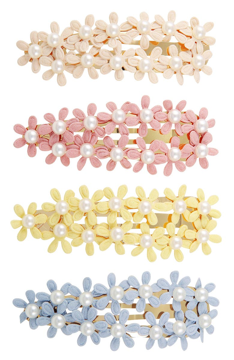 BERRY Floral Imitation Pearl Hair Clip - Pack of 4, Main, color, BLACK