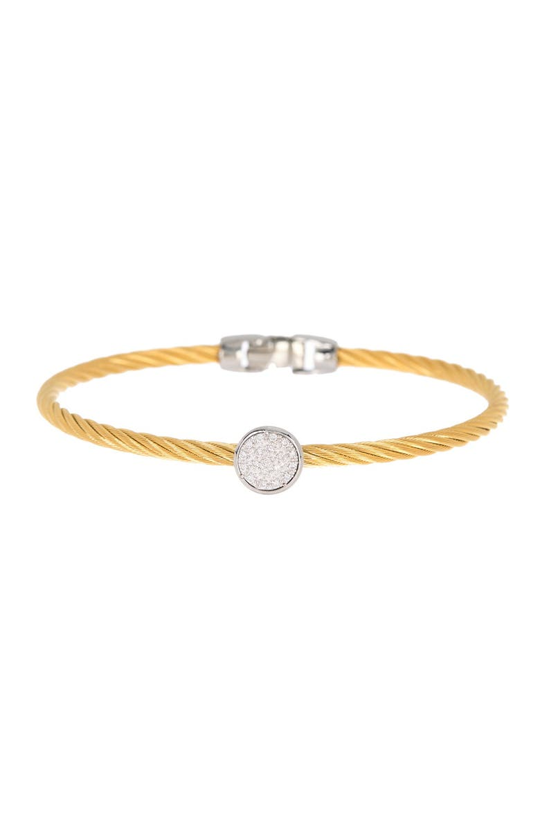 ALOR 18K Yellow Gold Stainless Steel Diamond Cable Cascade Chain Bracelet, Main, color, 14KT WG