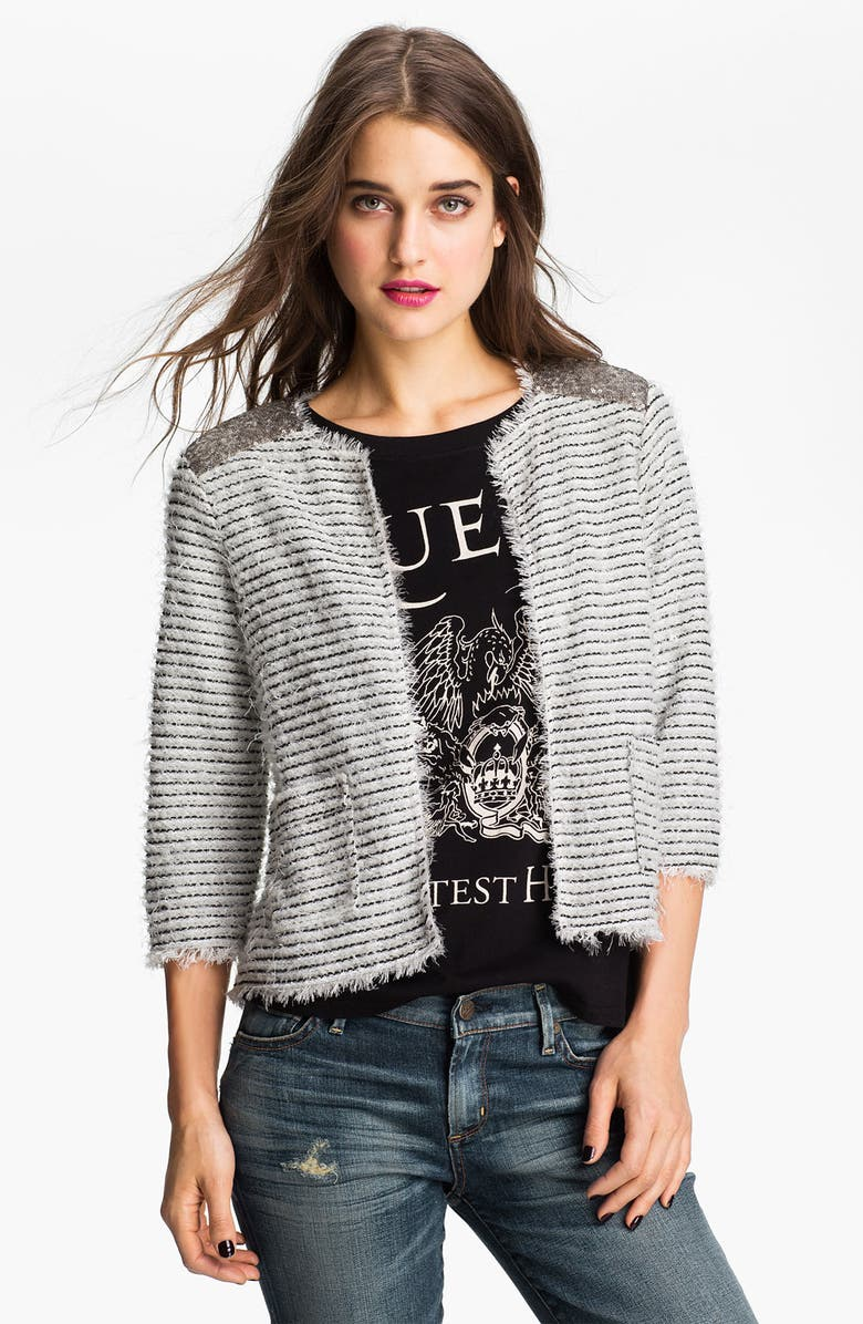 ZZDNU WILLOW & CLAY Willow & Clay Embellished Bouclé Jacket, Main, color, IVORY/ BLACK