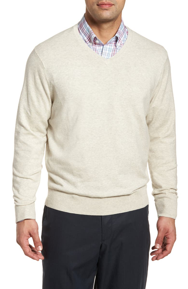 CUTTER & BUCK Lakemont Classic Fit V-Neck Sweater, Main, color, OATMEAL HEATHER