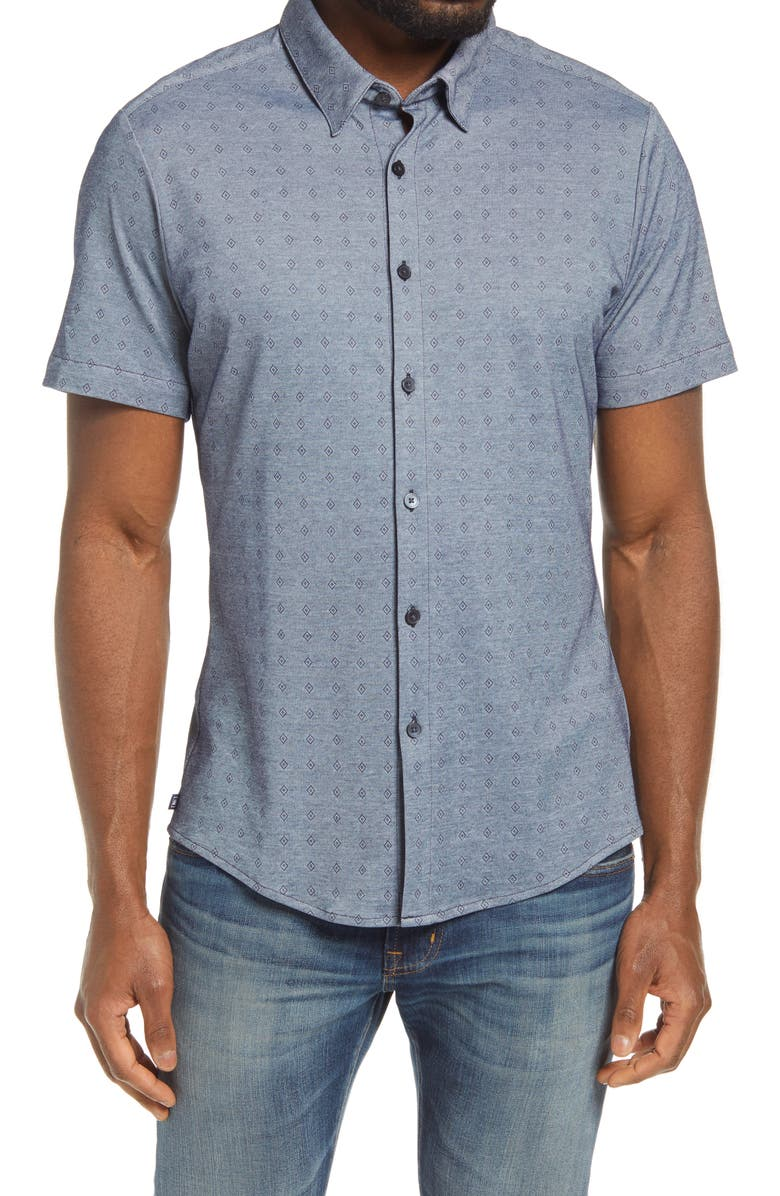 MIZZEN+MAIN Halyard Geo Print Performance Shirt, Main, color, NAVY DIAMOND DOBBY PRINT