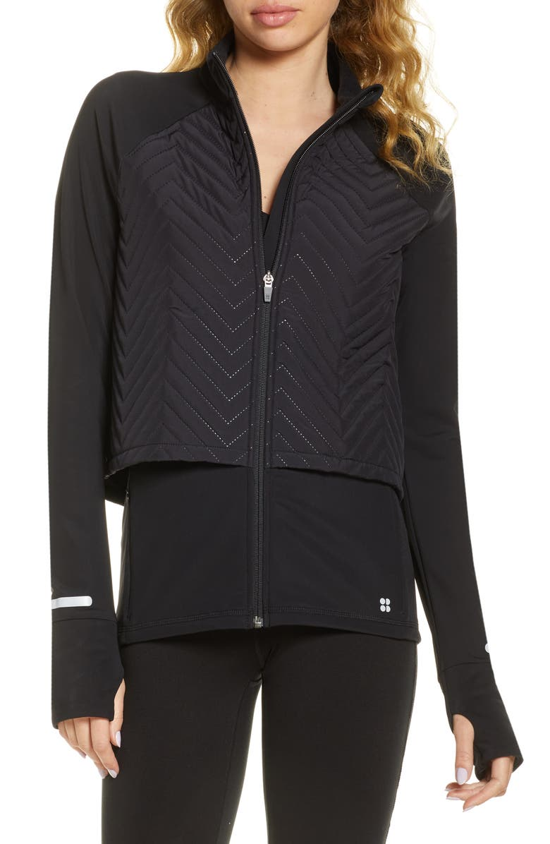 SWEATY BETTY Fast Track Quilted Running Jacket, Main, color, BLACK