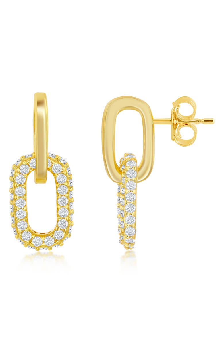 SIMONA Sterling Silver Micro Pave CZ Paperclip Earrings - Gold Plated, Main, color, GOLD