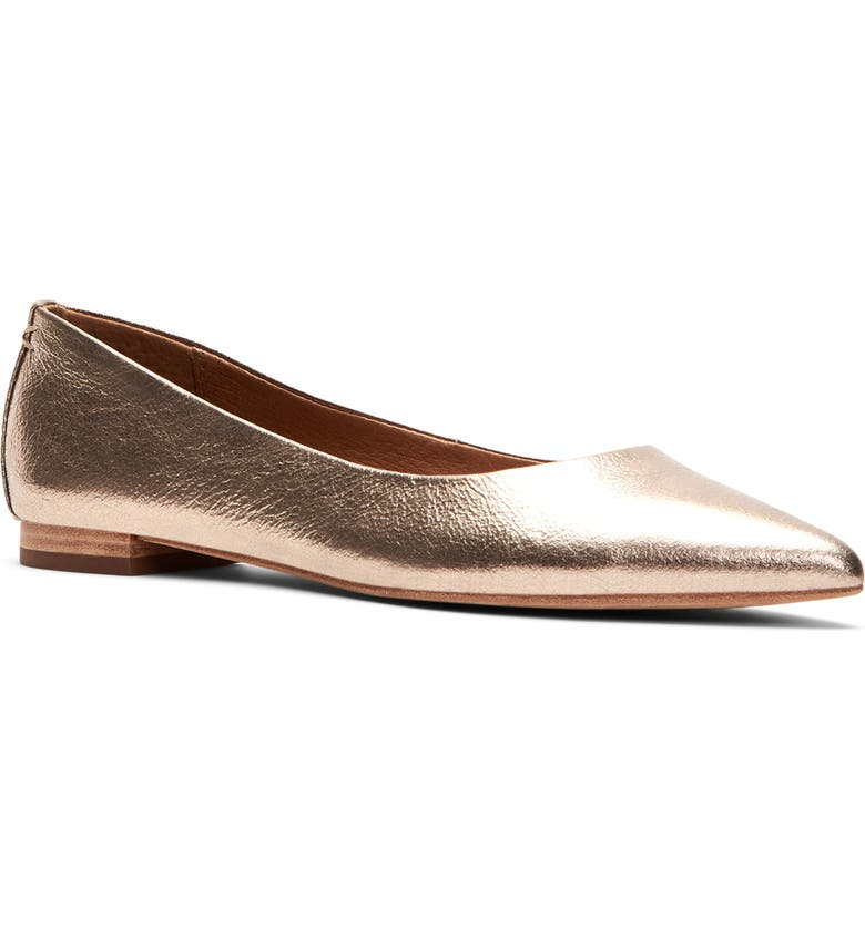 FRYE Sienna Pointy Toe Ballet Flat, Main, color, BRONZE LEATHER