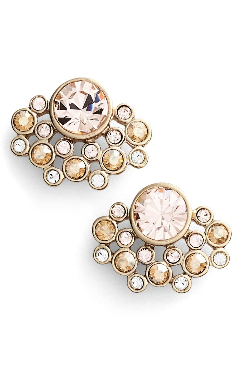 GIVENCHY Cluster Stud Earrings, Main, color, GOLD/ SILK TONAL