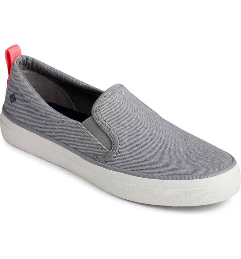 SPERRY Crest Twin Gore Slip-On Sneaker, Main, color, GREY WASHED TWILL FABRIC