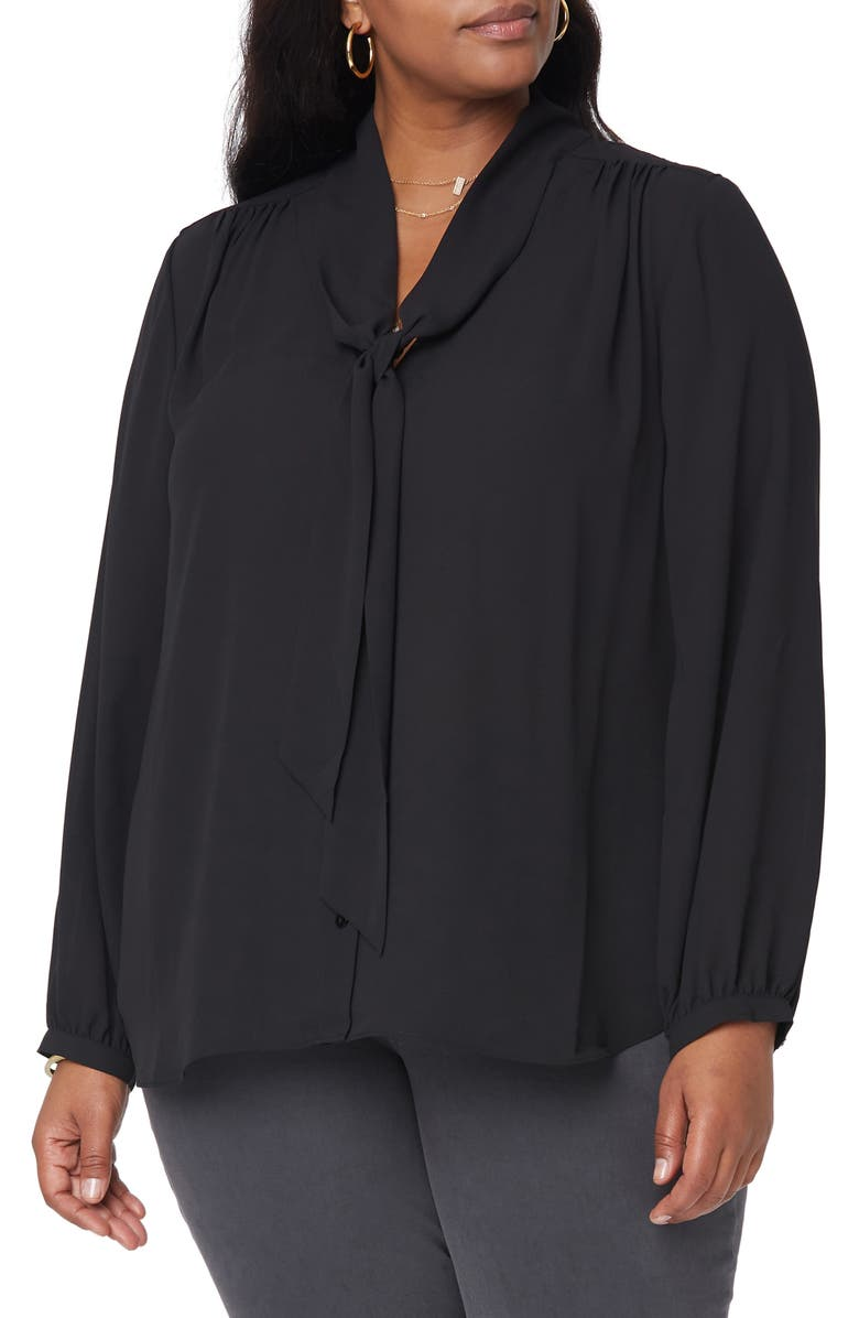 NYDJ Bow Button-Up Blouse, Main, color, BLACK