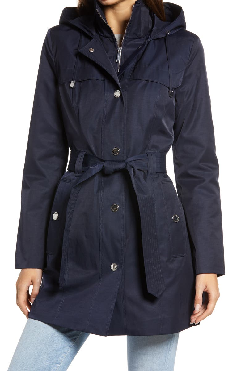 LONDON FOG Hooded Trench Coat with Bib Inset, Main, color, 415