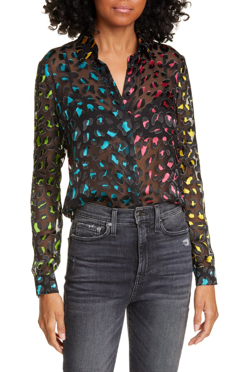 ALICE + OLIVIA Willa Abstract Leopard Print Burnout Silk Blend Blouse, Main, color, 440