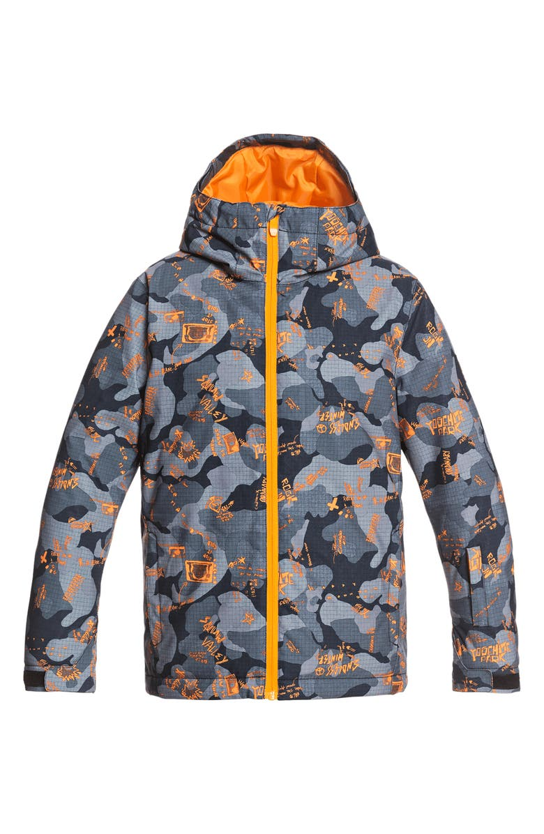 QUIKSILVER Kids' Mission Waterproof Hooded Snow Jacket, Main, color, NKP7-FLAME WICHITA