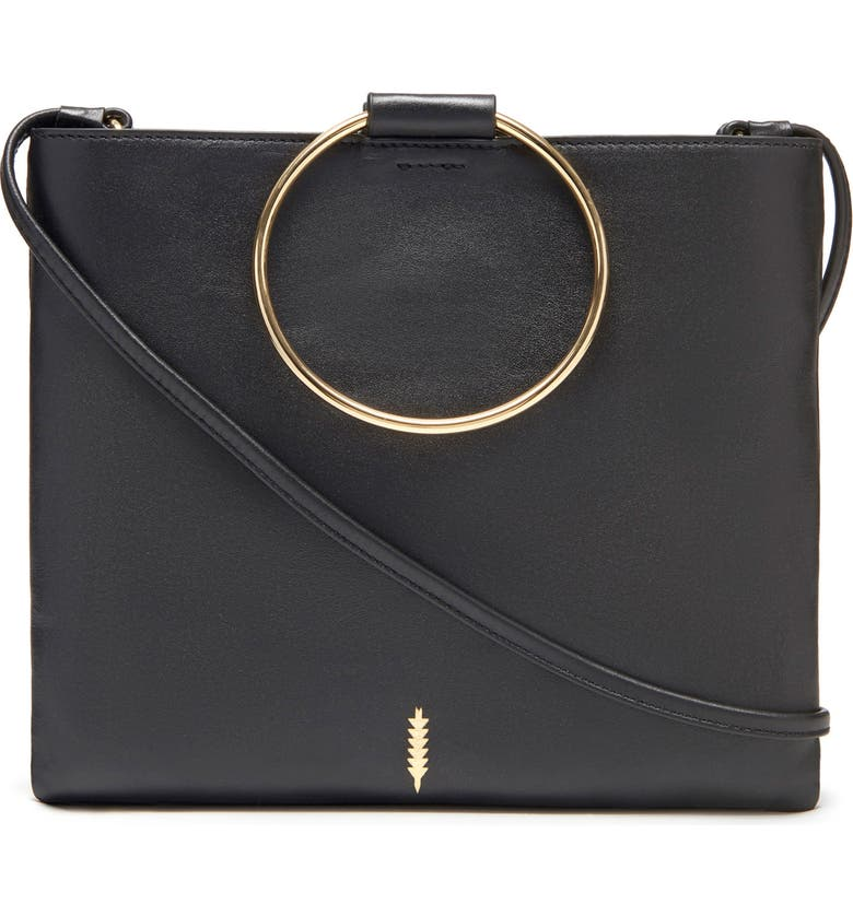 THACKER Le Pouch Leather Ring Handle Crossbody Bag, Main, color, BLACK/ GOLD